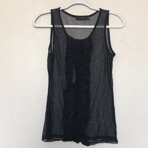 The Limited sheer black ruffle tank top